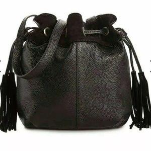 American Eagle Black Leather Bucket Bag Crossbody